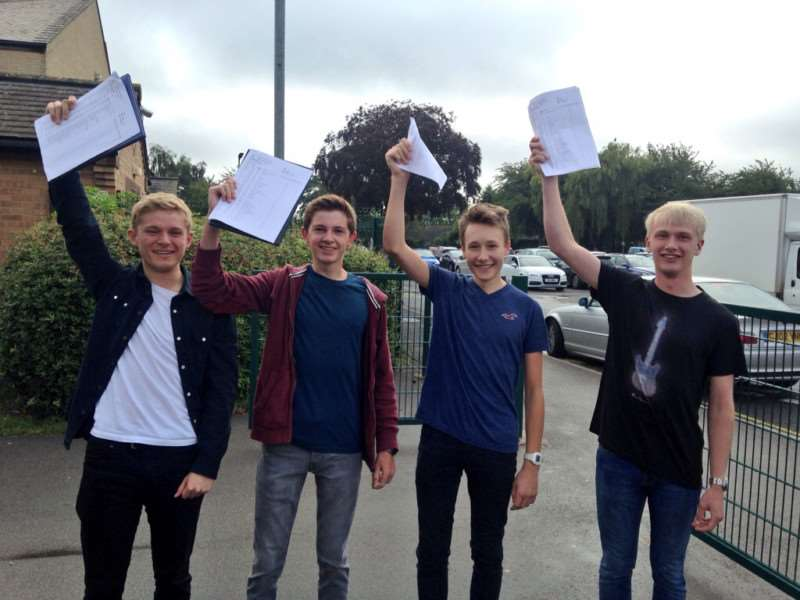 GCSE pupils celebrating their results in Lincolnshire