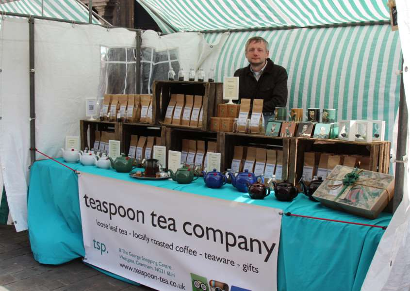 Lance Merryweather at the Teaspoon Tea Company's stall in Grantham Market.