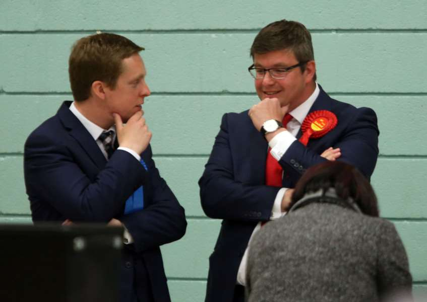 General Election: Corby: Counting votes at Lodge Park Sports Centre for Corby and East Northants'Tom Pursglove (Conservative) and Andy Sawford (Labour) chat animatedly'Friday May 8th 2015 NNL-150805-043708009