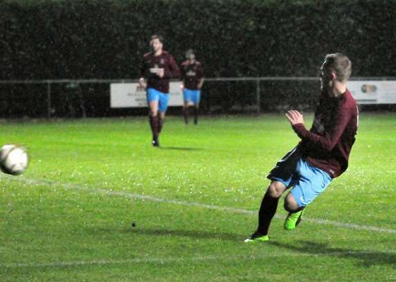 Scoot Coupland scores his 100th goal for Deeping
