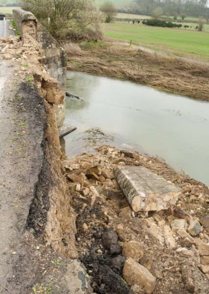 This stone bridge between Ketton and Collyweston was badly damaged after being struck by a car at the weekend. Photo: Lee Hellwing