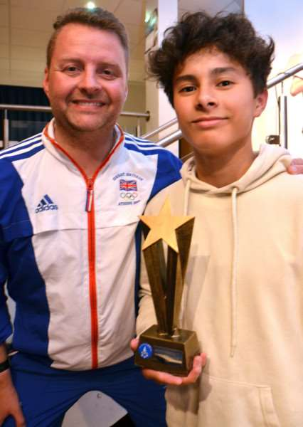 The Deepings School's first-ever Sports Personality of the Year, gymnast Jake Jarman, with former World and Commonwealth badminton silver medallist Anthony Clark. Photo: SG280617-218TW.