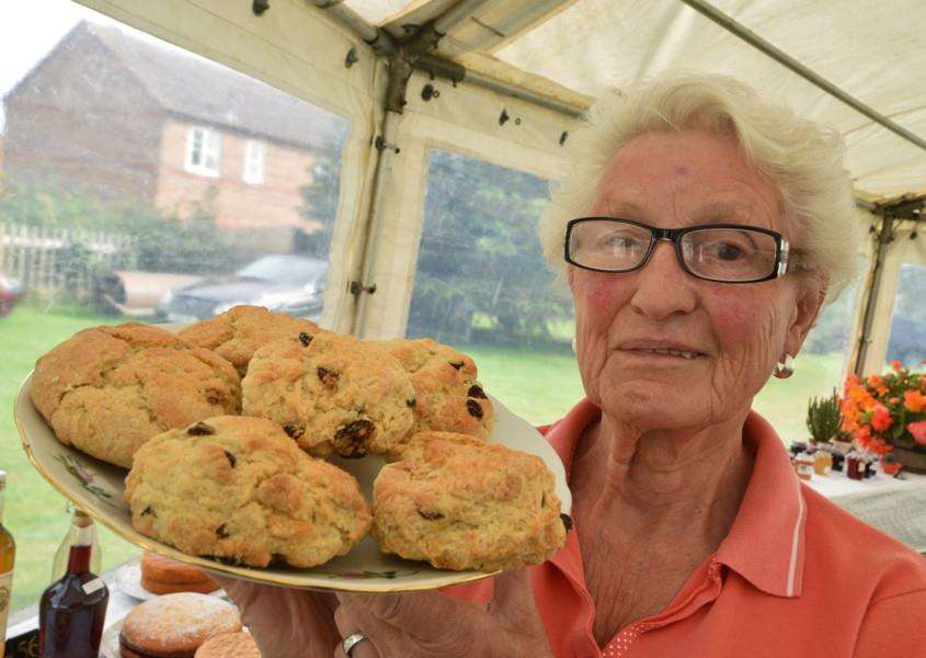 Uppingham Produce Show.Jean Hamilton with her scones and cakes EMN-150208-212715009