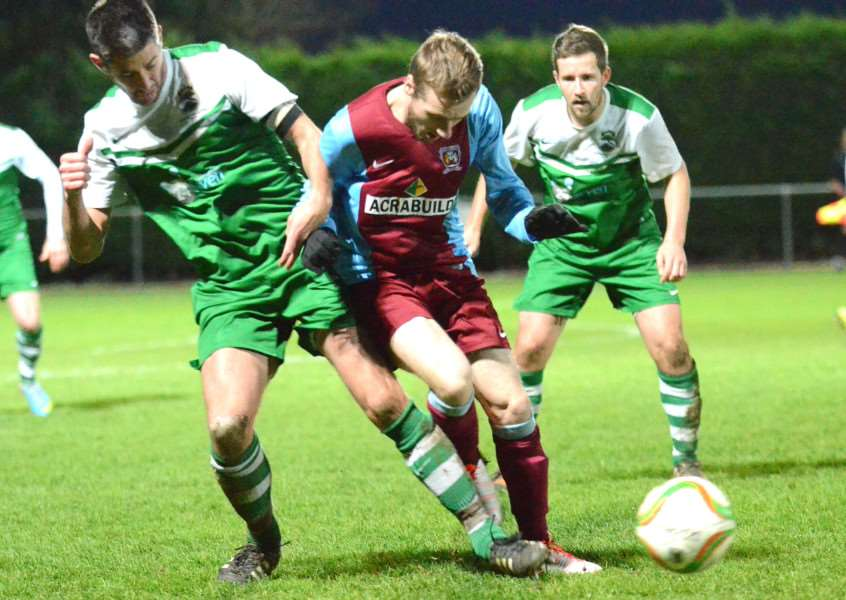 Scott Coupland can't break down the Newport Pagnell defence