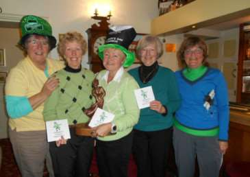Shamrock Stakes Ladies competition winners. From left to right are Mary Stark, Marilyn Marriott, Judith Childs, with Jean Parsons, lady Captain on the right. EMN-150326-171616001