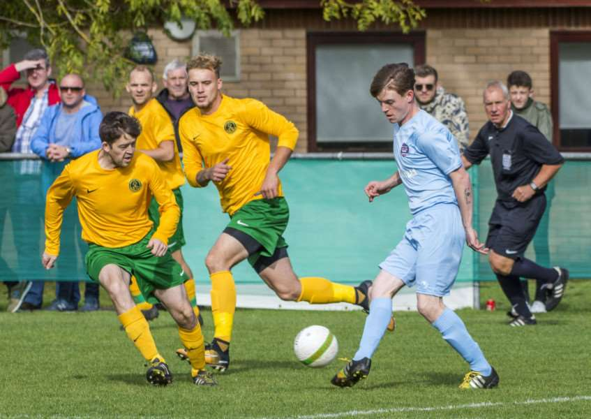 Eddie McDonald scored Bourne's equaliser against Thrapston last weekend. He faces his former club Oakham on Saturday.