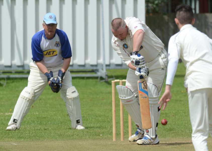 Dave Walker batting for Whittlesey 2nds at Orton Park 2nds in Rutland Division Six. Photo: David Lowndes.