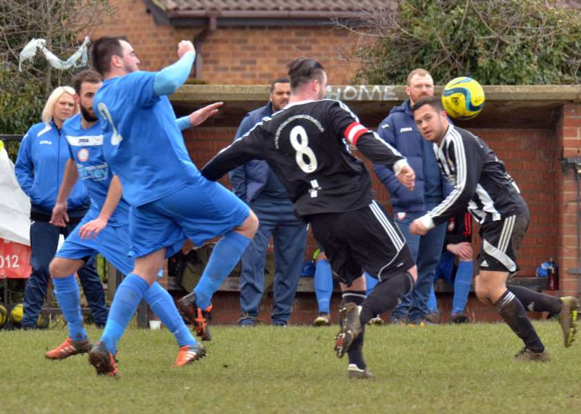Pinchbeck United FC, Knight Street - first-half action v Langtoft United ANL-160603-133736001