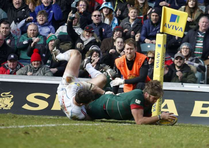 Geoff Parling in action for Leicester Tigers. Tiger Images EMN-150331-113318001