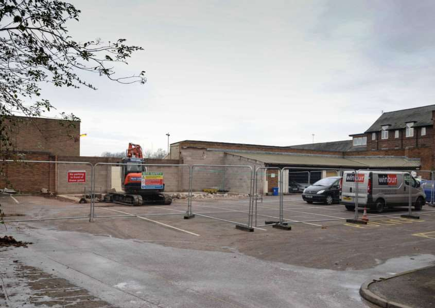 Oakham police station is demolished to make way for a new, smaller office. Photo: Alan Walters EMN-141126-095747001