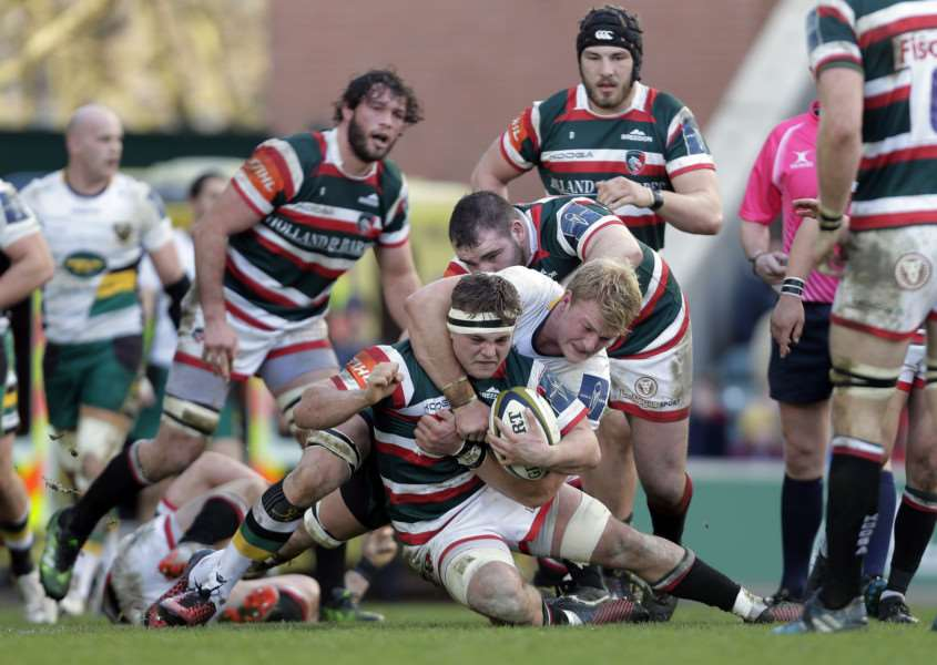 Will Evans in action for Leicester Tigers against Northampton Saints. Photo: Tiger Images