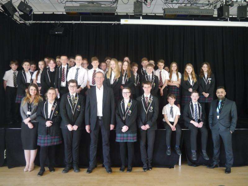 Nick Bowles MP meets pupils fromt he Stamford Welland Academy Photo: Lee Hellwing