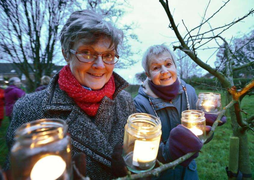A similar wassail event with the Stamford Community Orchard Group. Pictured are Andrea Togher and Janet Downes.