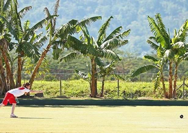 PACIFIC RIM: Bourne's Ruby Hill in action during the girls singles competition at the Commonwealth Youth Games in Western Samoa.