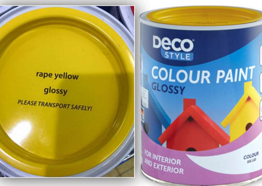 The rape yellow paint that Aldi has been forced to rename