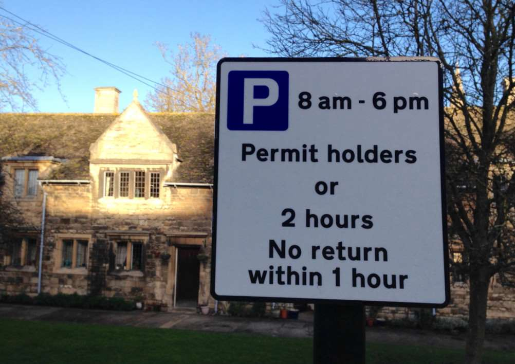 A resident's parking sign in Stamford. Photo: Steve Marsh. EMN-150115-130803001