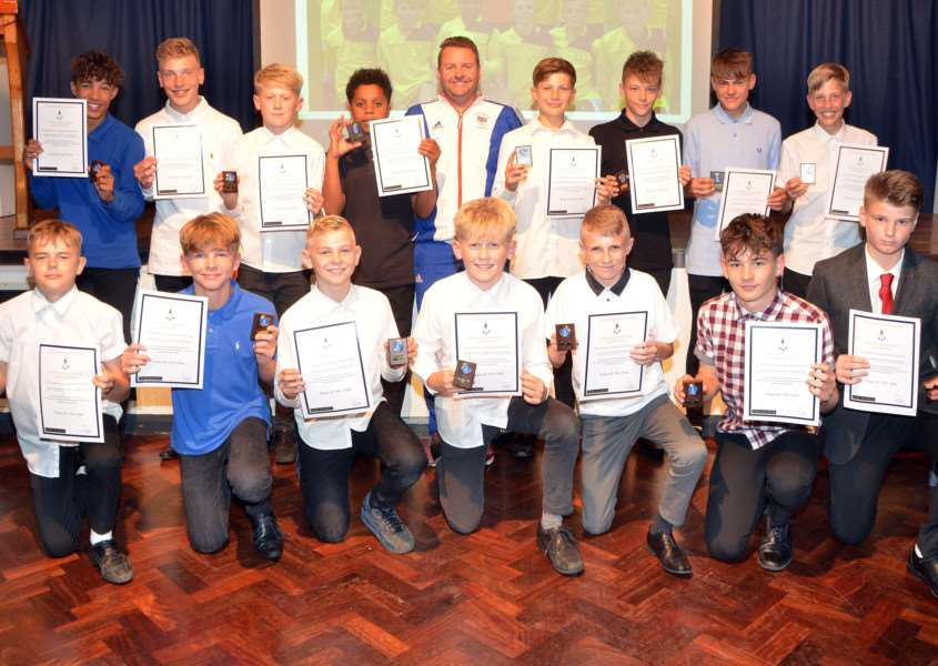 The Deepings School's Team of the Year Award went to the Year 8 football team. Photo by Tim Wilson. SG280617-215TW.