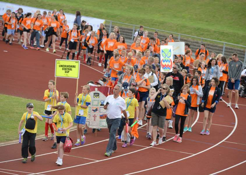 The opening ceremony for the 2015 Lincolnshire School Games. Photo by Sarah Washbourn/Chris Vaughan Photography.