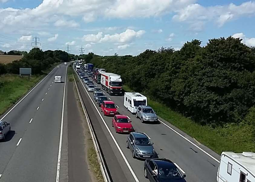 Long tailbacks on the A1 following the collision at Stoke Rochford. This picture was taken from the bridge at Barrowby.