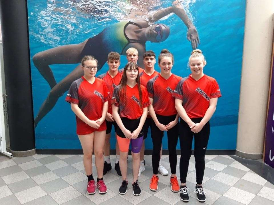 The Deepings squad competing at East Midlands: Lorna McGill, Louis Metselaar, Emma Wilde, Tom Neal, Tom Adams, Bethany Eagle-Brown and Holly Leggott. (10878450)