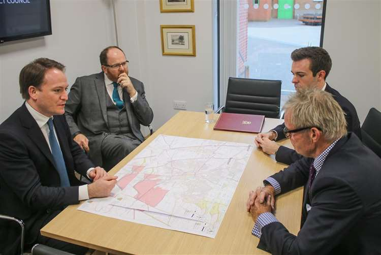 MP George Freeman with Stamford and Grantham constituency candidate Gareth Davies, SKDC leader Kelham Cooke and Lincolnshire County Council leader Martin Hill (20306609)
