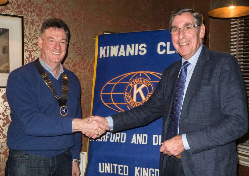 Steve Marsh takes over as president of Stamford Kiwanis from David Epps. EMN-160113-095832001