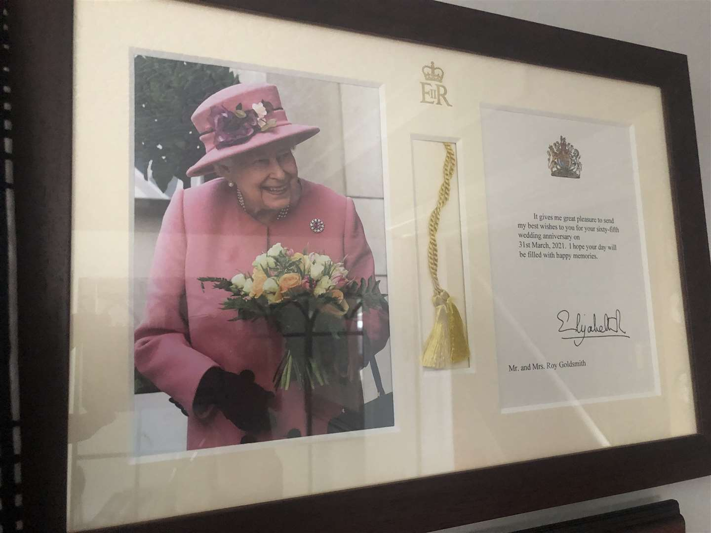 A special message from the Queen arrived at their Bourne home