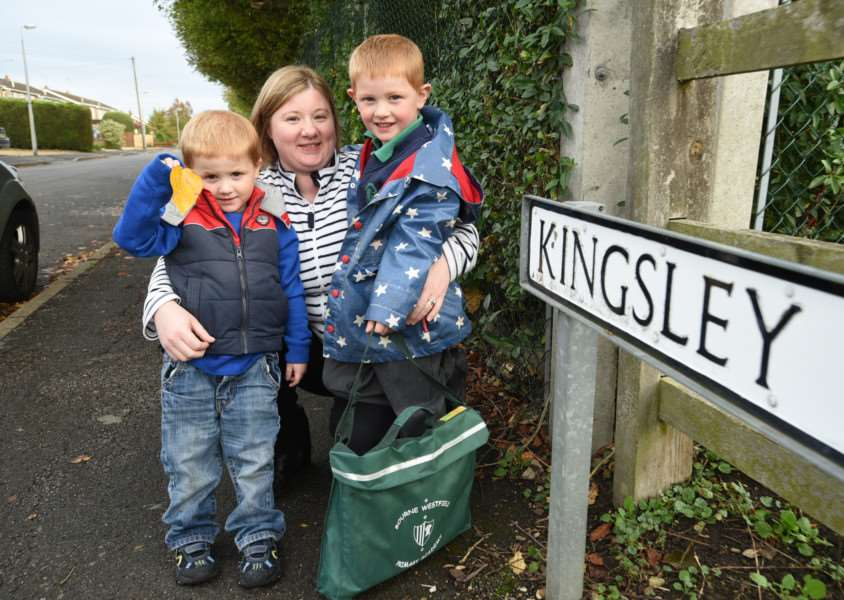 Jenny Pace with her children Timothy (4) and Benjamin (5). They are campaigning for a one way system near the Bourne Westfield primary school EMN-150710-193120009