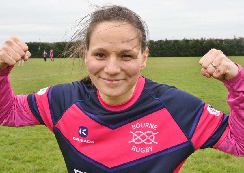 Bourne Rugby Club action from game raising funds for Heidi Rock at a at Bourne Rugby Club. Pic of Heidi Rock EMN-160326-191805009