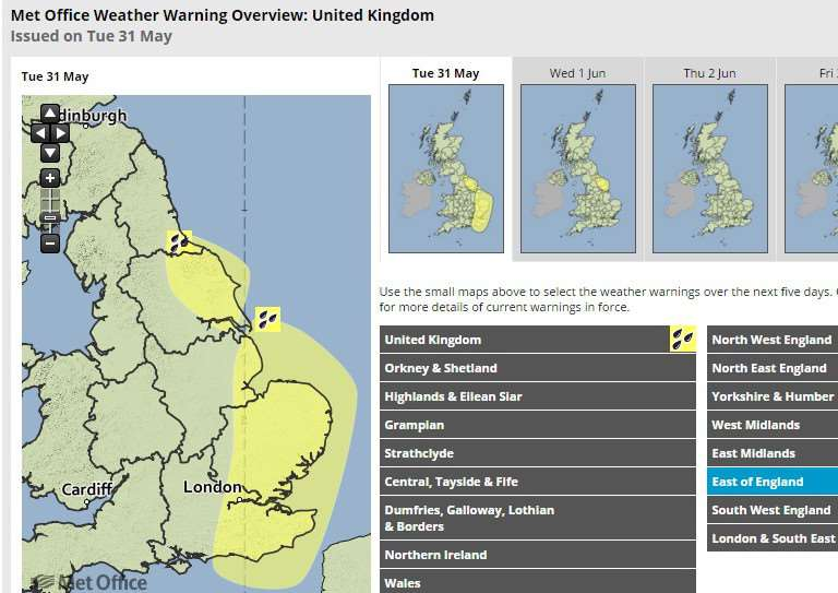 East of England Weather Warning