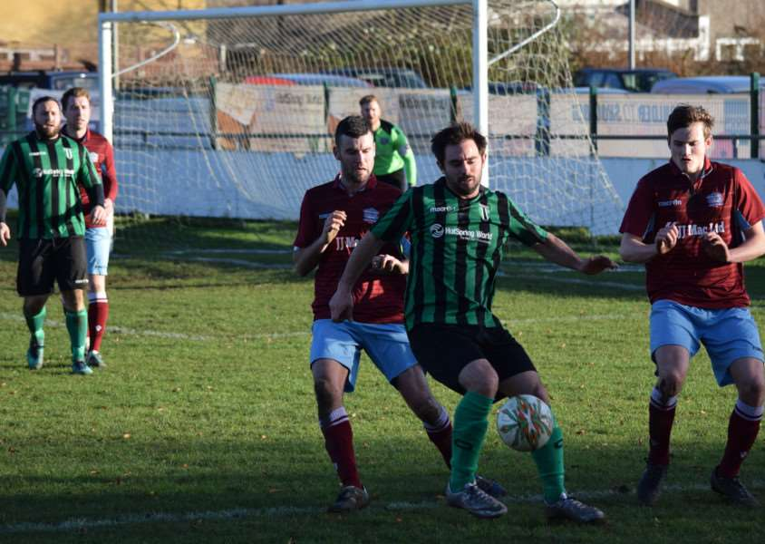 Action from Blackstones v Bourne Town in the UCL Division One. Photo: Martin Davies