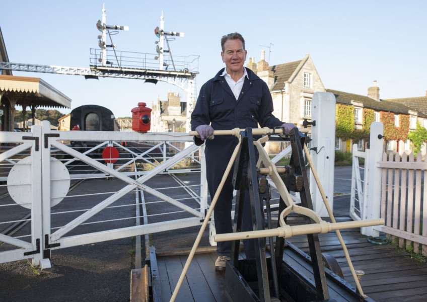 Great British Railway Journeys - Michael Portillo on a pump trolley at Nene Valley Railway. Photographer: John Hall BBC Two