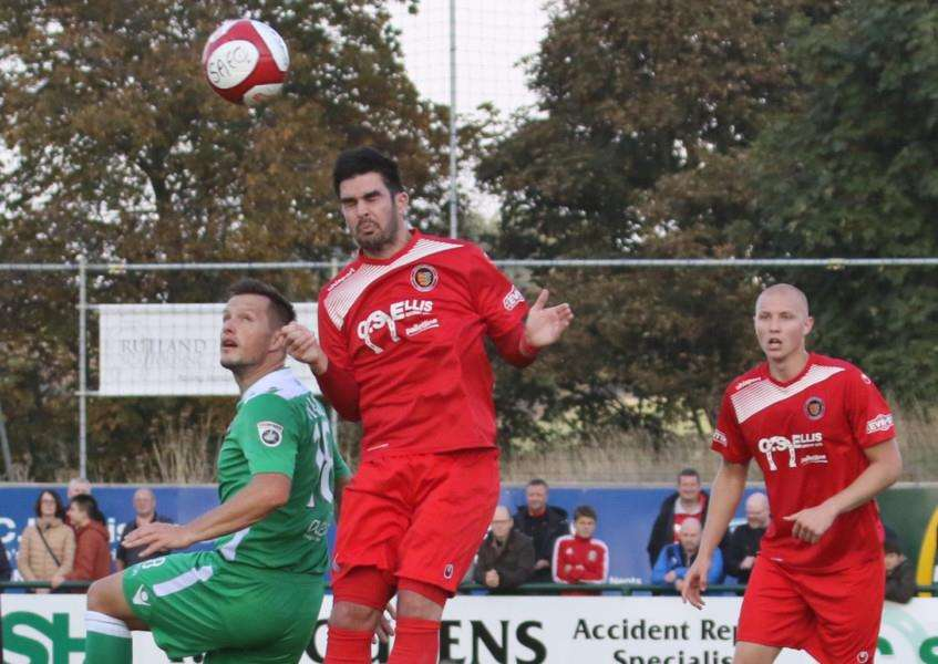 Action from Stamford AFC's 1-1 draw with Wrexham in the FA Cup fourth qualifying round on Saturday. Photo: Geoff Atton EMN-161018-092524001
