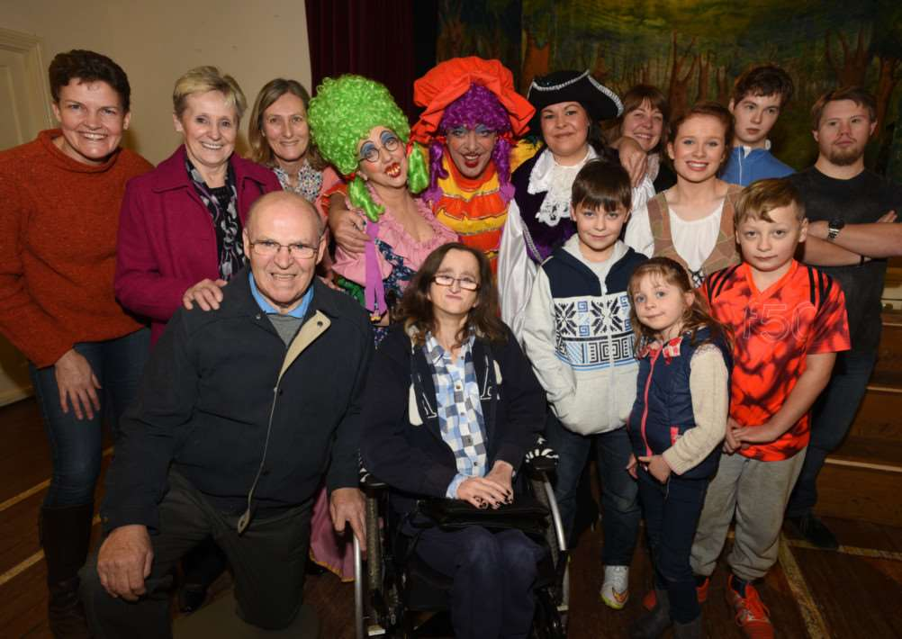 Jim and Liz Bolton from the Karen Ball fund with members of the Rutland Rotract Family Support DCentre and members of the Cottesmore Village Players at Market Overton village hall. EMN-150125-185707009