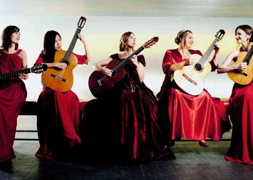 EUROPEAN SOUNDS: Women's guitar quintet Gitarrissima, Maria Benischek, Ayako Kaisho, Antonina Ovchinnikova, Anna Lesjak and Olga Dimitrova, are this month's South Holland Concerts offering on Sunday, February 18, at 3pm. Photo by Julia Wesely.