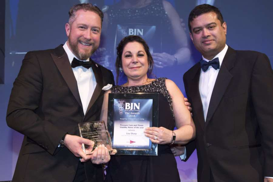 From left Anthony Kerr, managing director of MA Healthcare, Lisa Sharp and Paul Sinha at the British Journal of Nursing Awards. By the British Journal of Nursing.