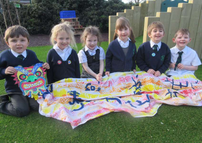 Children at Bourne Westfield Primary celebrate Chinese New Year