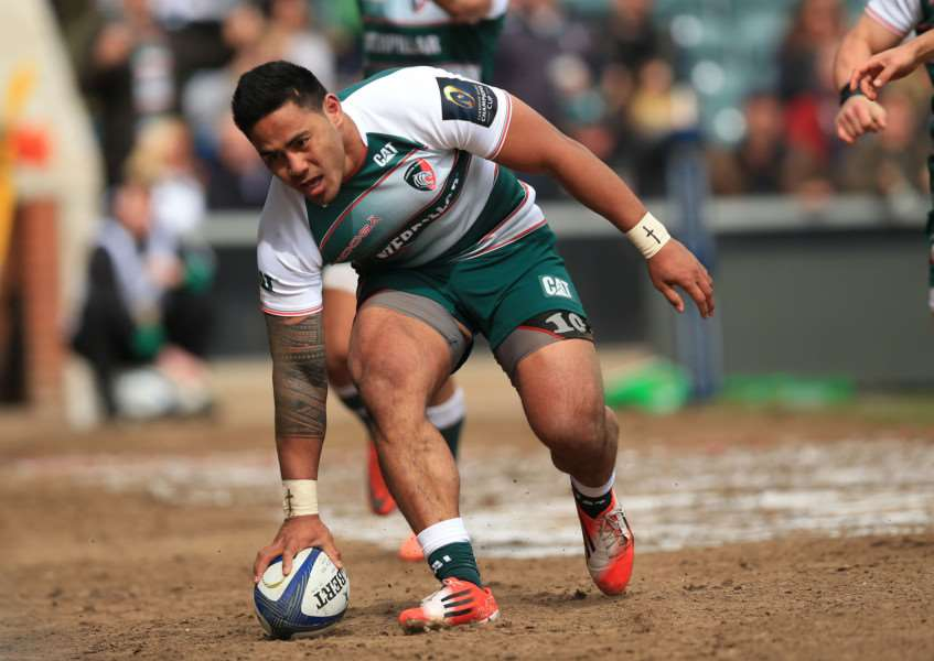 Leicester Tigers' Manu Tuilagi celebrates scoring the opening try during the European Champions Cup, Quarter Final match at Welford Road, Leicester. Photo: Mike Egerton/PA Wire. EMN-161204-111748001