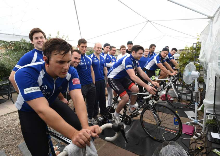 Cyclists and ex Stamford school pupils from the Pelargos Foundation doing a charity ride at Stamford Wine Bar EMN-150920-164839009