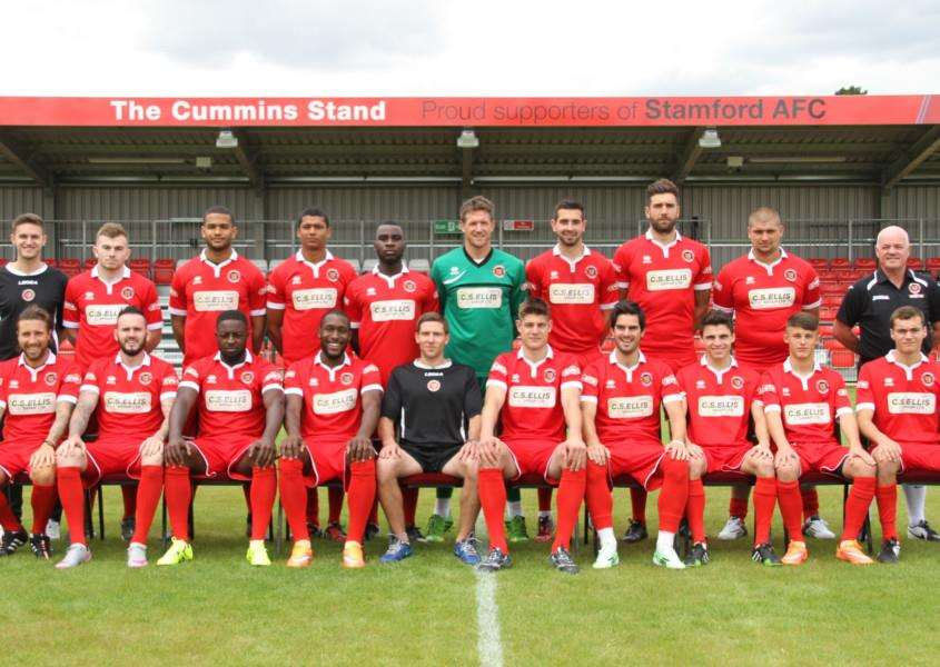 Stamford AFC 2015-16. From left, back, Steve Rands (physio), Nathan Fox, Lewis Carr, Cameron Powell, Eddy Samba, Richard Knight, Dalton Bettles, Tom Batchelor, Greg Smith, Paul Holden (Coach) Front Row - Left to Right: James Jepson, David Bell, Jordan Smith, Ryan Robbins, David Staff (Manager), Richard Jones (Captain), Jon Challinor, Daniel Clements, Jordan Neil, Elliott Bentley. Photo: Geoff Atton EMN-150408-120250001
