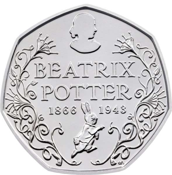 A 50p coin honours Beatrix Potter, the author and artist whose illustrated animal tales have delighted generations of children worldwide, on the 150th anniversary of her birth.