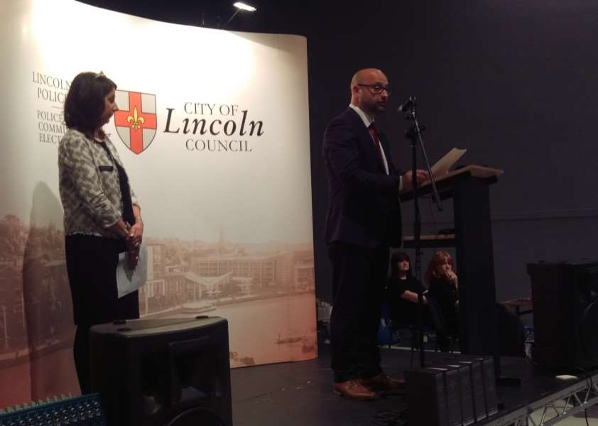 Marc Jones gives his PCC victory speech in Lincoln