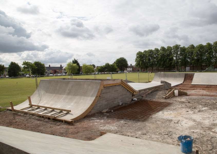 Work in progress on the new skatepark in Tod's Piece. Photo: Neil Wedge. EMN-150722-112808001
