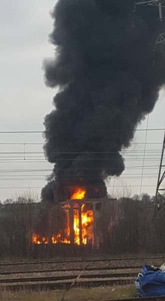 The fire at the Grantham substation. Photo credit: Andris Berzins-Sirbu Hmv84k5TFu-GI7KGhWmp