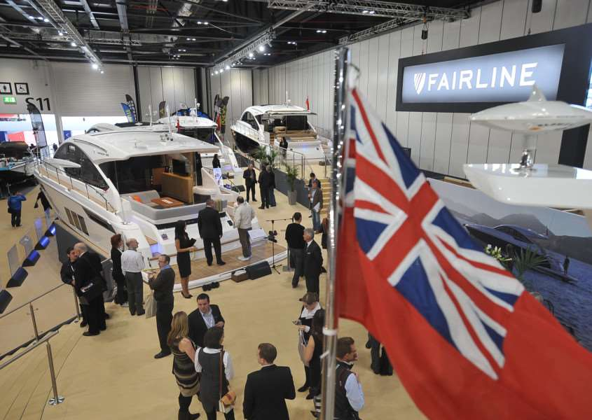 Luxury boat builder Fairline at its stand at the London Boat Show 2014