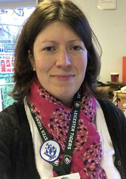 Brooke Hill Academy teacher Vicky Redshaw with the Blue Peter cloth emblem badge she was awarded after her Year 5/6 class wrote to the show