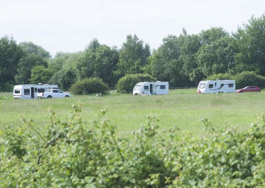 Travellers on Deeping Showground in June.
