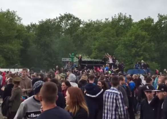 An image of a rave a Twyford Wood, near Grantham, in May 2015.