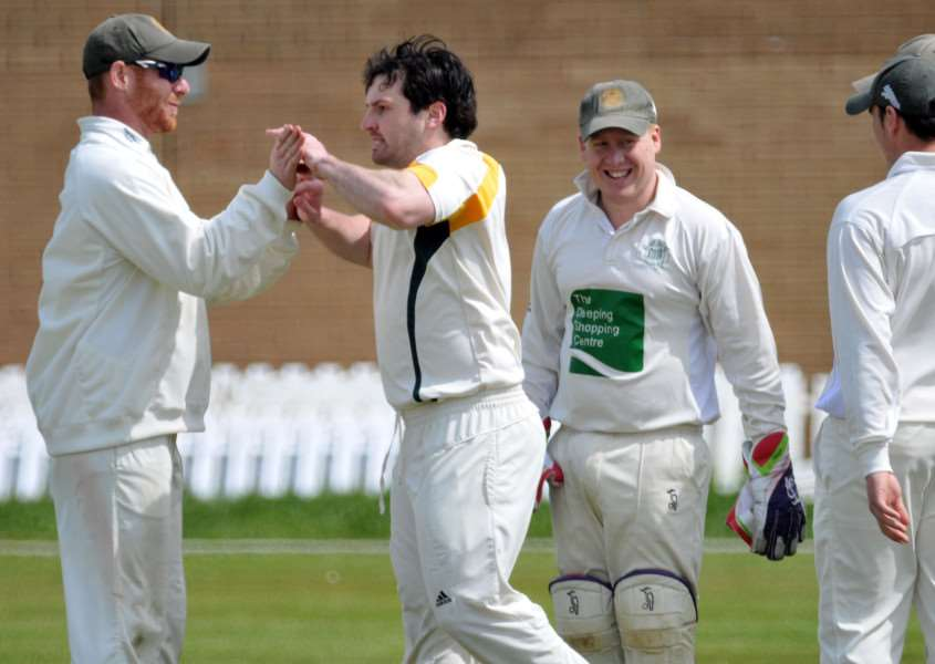 Market Deeping celebrate an early wicket for Ali Sharp against Lincoln. Photo: Tim Wilson.