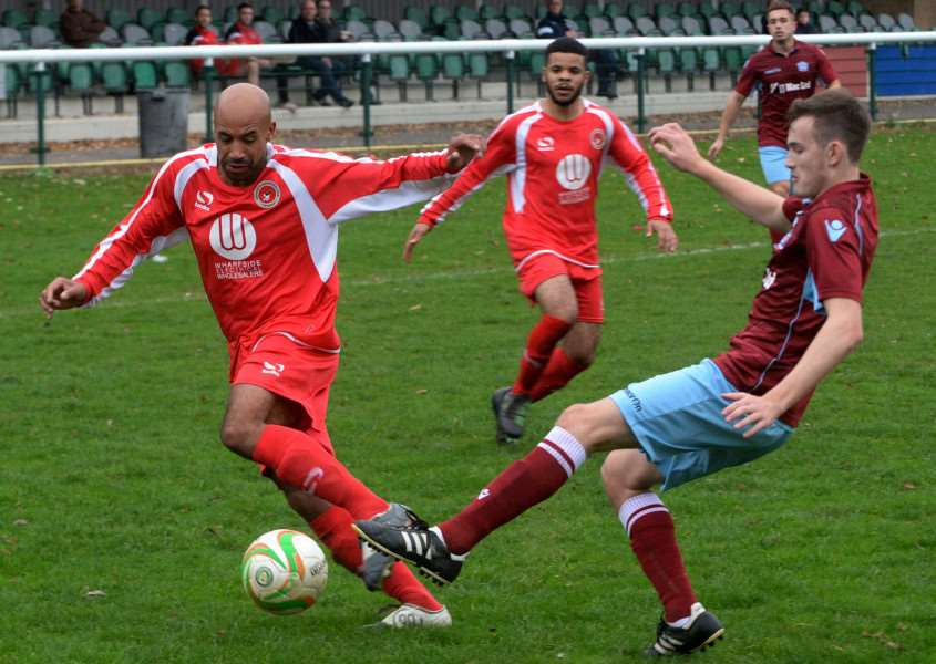 Action from the goalless draw between Buckingham Town and Bourne Town last weekend